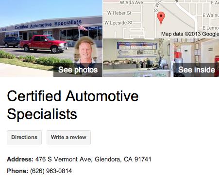 Certified Automotive Specialists   Google 3D Tour Glendora
