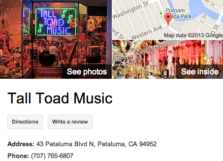 Tall Toad Music | Google 3D Tour Petaluma