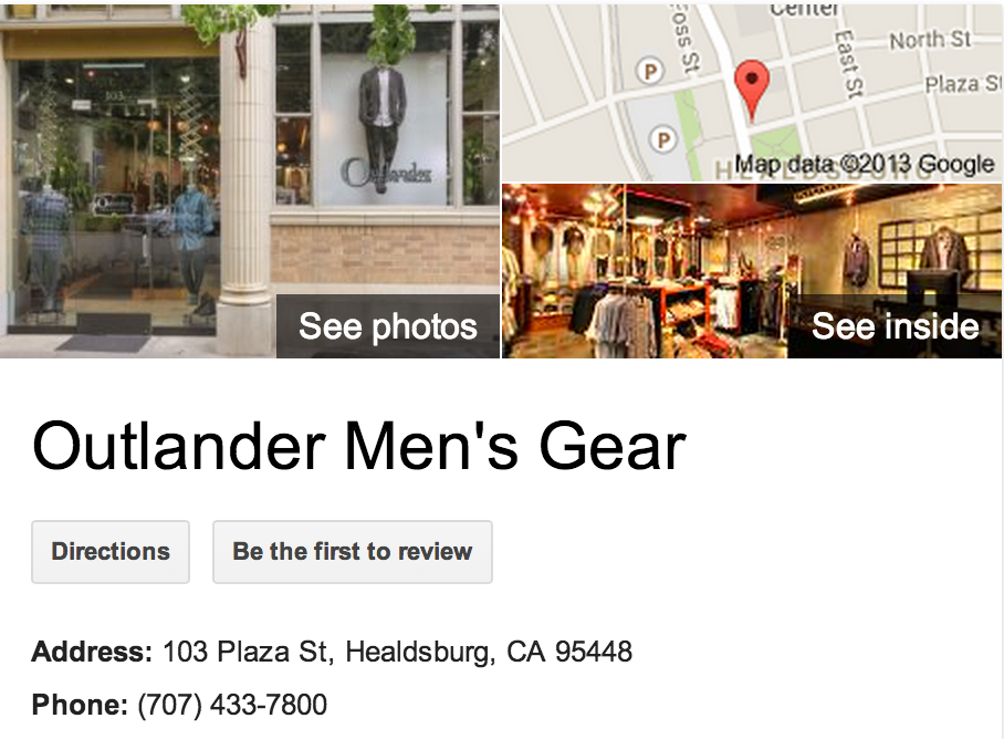 Outlander Mens Gear | Google Business View Healdsburg