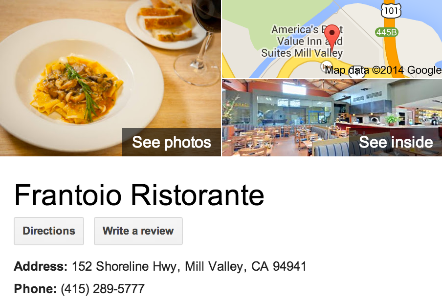 Google Business View for an Italian Restaurant.  Look Inside!
