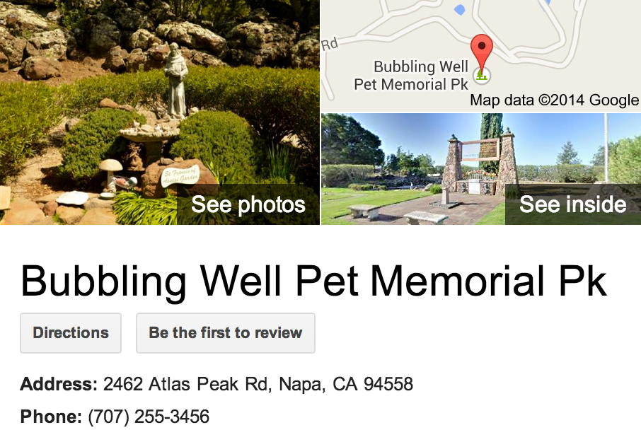 Google Business View for a Pet Memorial Park.  Look Inside!