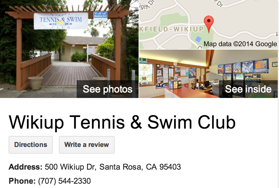 Google Business View for a Tennis & Swim Club.  Look Inside!