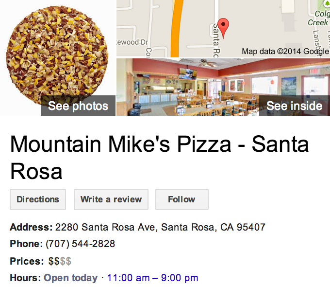 Google Business View for a Pizza Restaurant.  Look Inside!