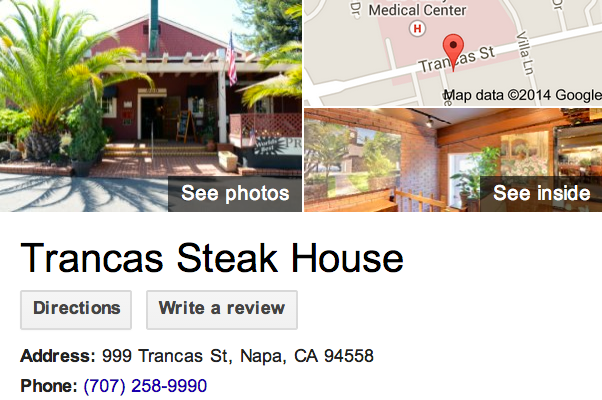 Google Business View for a Steak House.  Look Inside!