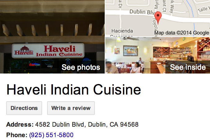 Google Business View for an Indian Restaurant.  Look Inside!