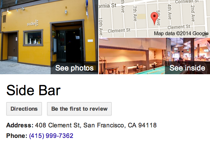 Google Trusted Agency Zenergy Works captured the best of Side Bar in San Francisco with this Google 360 Tour