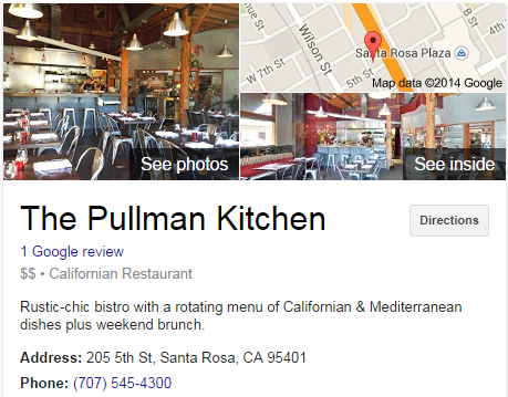 Google Business View for a Californian Restaurant.  Look Inside!