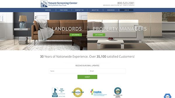 Tenant Screening Center, Inc. Website