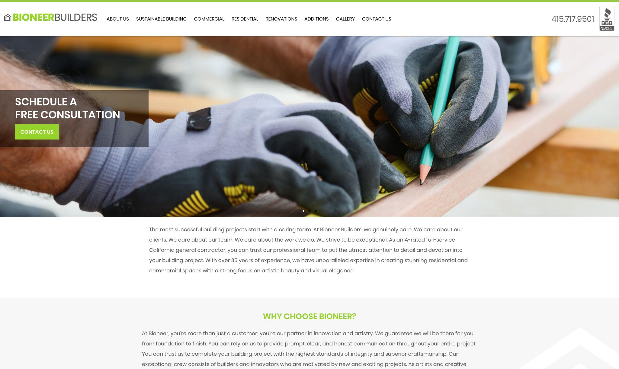 Bioneer Builders Website